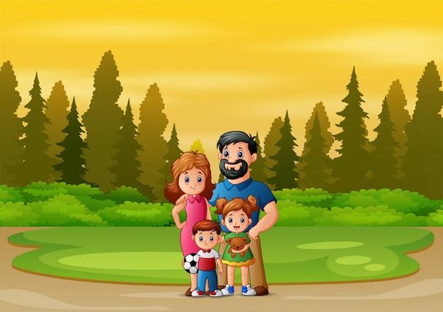 Familielid spelen in het park