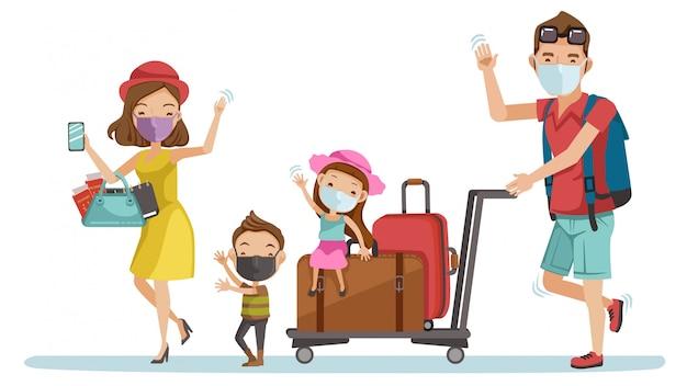 Familiemasker traval op de luchthaven. gelukkig gezin toeristische groep. ouders en kinderen op reis. nieuw normaal concept.