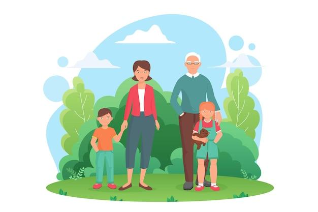 Familiemensen die in het groene stadspark van de zomer staan, samen met verschillende generaties karakters