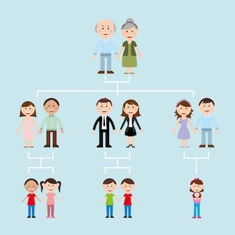 Familieontwerp over blauwe vectorillustratie als achtergrond