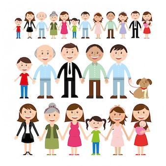 Familieontwerp over witte vectorillustratie als achtergrond