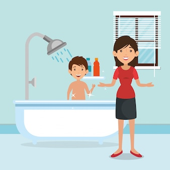 Familieouders in de badkamer met badscène