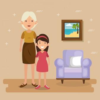 Familieouders in de scã¨ne van de woonkamer