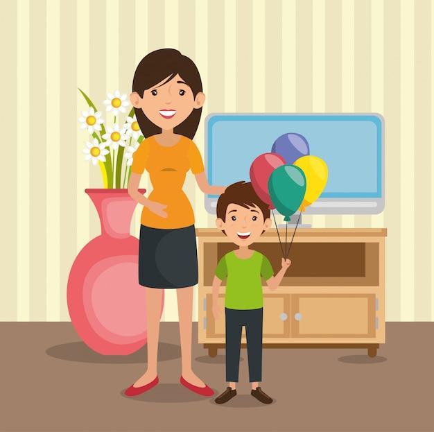 Familieouders in huis plaatsen scène