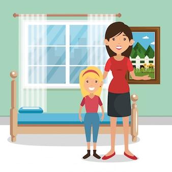 Familieouders in slaapkamer scene