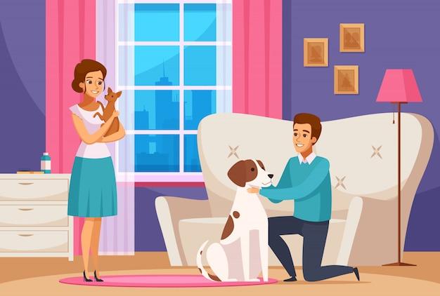 Familiepaar met huisdieren thuis
