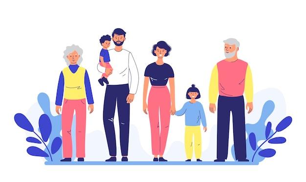 Familiepaar vader en moeder met dochter en zoon lopen samen met grootouders