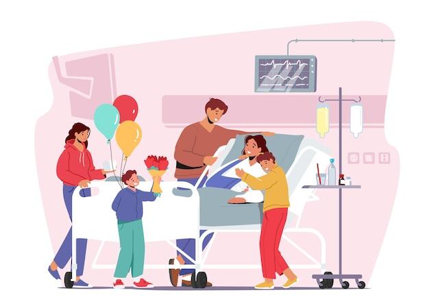 Familiepersonages bezoeken moeder in het ziekenhuis. zieke vrouwelijke patiënt met gebroken arm liggend op bed in de kamer van de privékliniek. kinderen en man brengen bloemen en ballonnen. cartoon mensen vectorillustratie