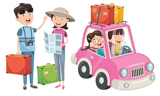 Familieplanning om met grappige auto op vakantie te gaan