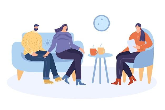 Familiepsycholoog. de psycholoog helpt patiënten het probleem op te lossen. het concept van psychotherapie. vector illustratie