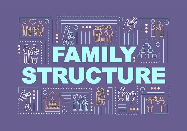 Familiestructuur, relatie typen woord concepten banner. relationele groepen verscheidenheid. infographics met lineaire pictogrammen op paarse achtergrond. geïsoleerde typografie. vector overzicht rgb-kleurenillustratie