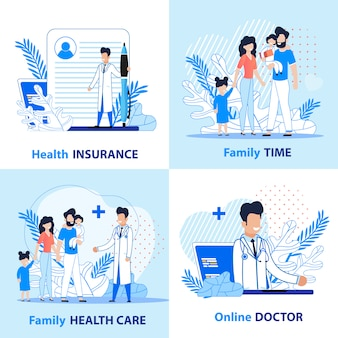 Family healthcare en active time set.