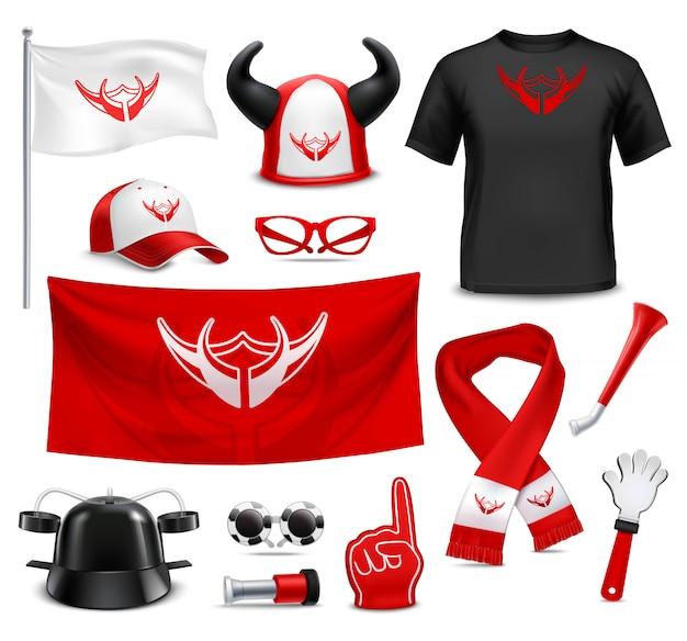 Fan buff-accessoires voor accessoires realistische set