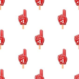 Fan logo hand met vinger omhoog. hand omhoog met nummer 1 patroon. vector voorraad illustratie.
