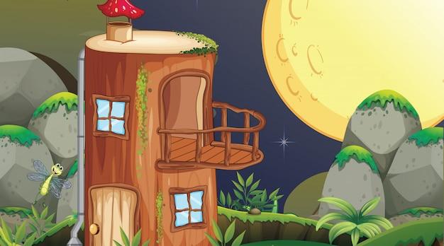 Fanatsy huis nachtscène