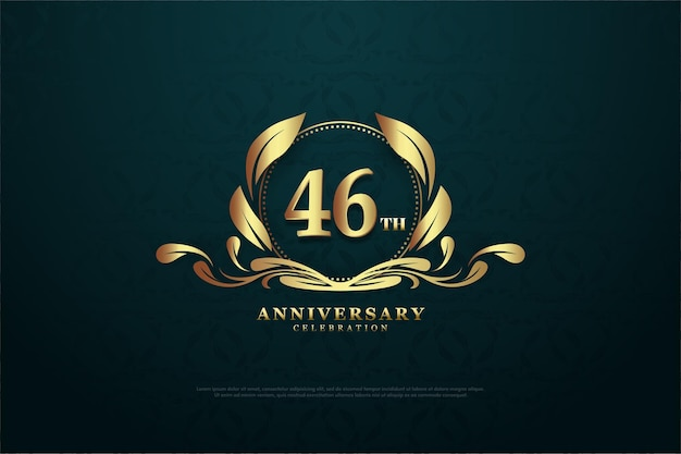Fancy achtergrond en cijfers voor de 46e verjaardagsviering ith het symbool van romantiek