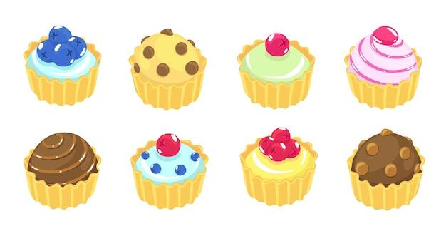 Fancy cake. verschillende soorten taarten. zoete muffin.