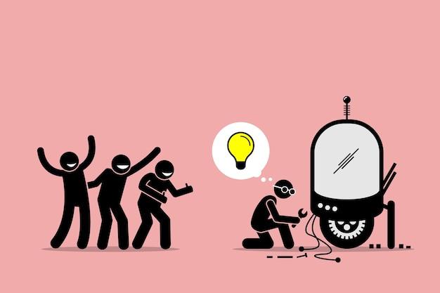 Fans die een uitvinder prijzen en steunen voor het creëren van een nieuw idee en het maken van nieuwe dingen.