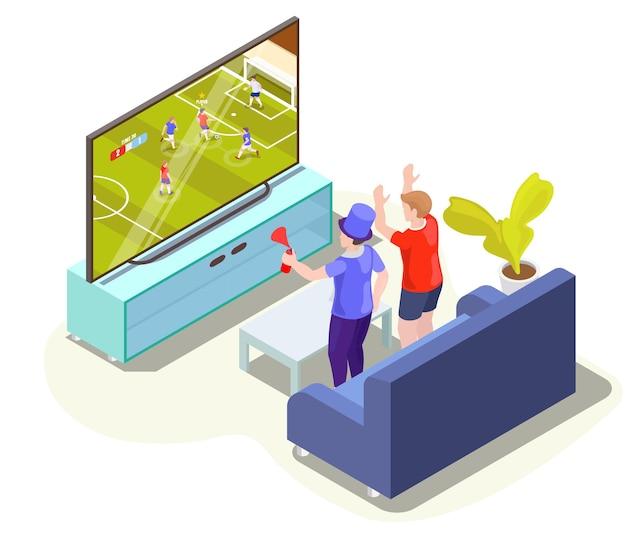 Fans kijken naar voetbalwedstrijd vertaling op tv thuis vector isometrische illustratie live voetbal op ...