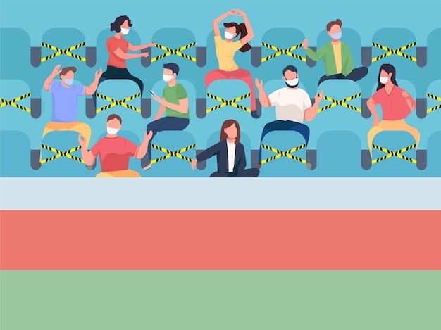 Fans zittend op stadion plat. pandemische beperkingen tijdens sportevenementen. mensen met maskers 2d-stripfiguren met stoelen met attenrion-stickers