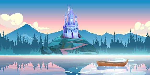 Fantasie blauw kasteel op rots in de ochtend