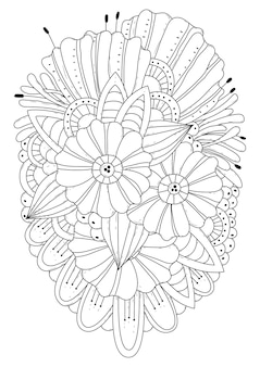 Fantasie bloemen illustratie voor kleurboek