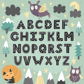 Fantasie bosalfabet voor kinderen. geweldige poster van abc