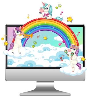 Fantasie eenhoorn op computerdesktop