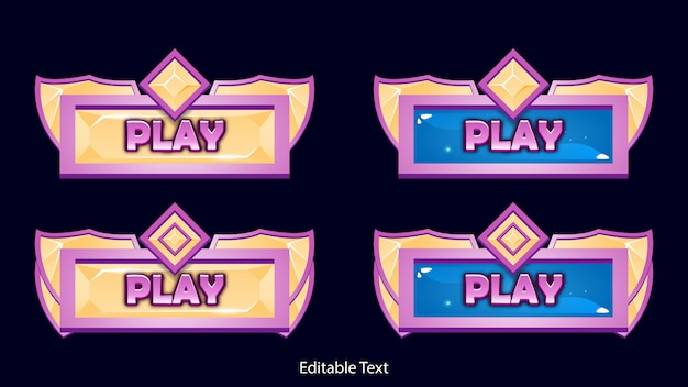 Fantasie game ui play-knop met diamanttextuur en glanzende rand