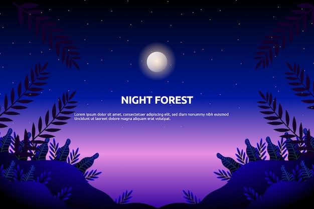 Fantasie gebladerte bos met sterrenhemel en paarse nachthemel landschap illustratie