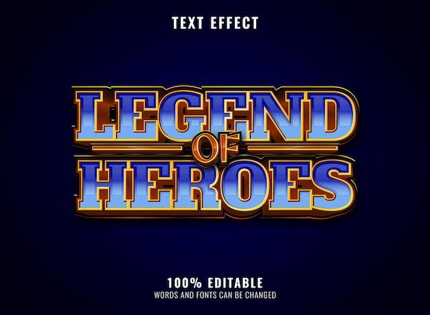 Fantasie gouden glanzende diamanten legende van helden bewerkbaar speltitel logo teksteffect