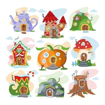 Fantasie huis cartoon fee boomhut en magie huisvesting dorp illustratie set kinderen sprookjesachtige pompoen of stenen speelhuisje voor kabouter op witte achtergrond