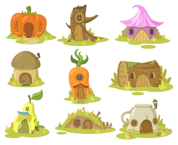 Fantasie huis illustraties set