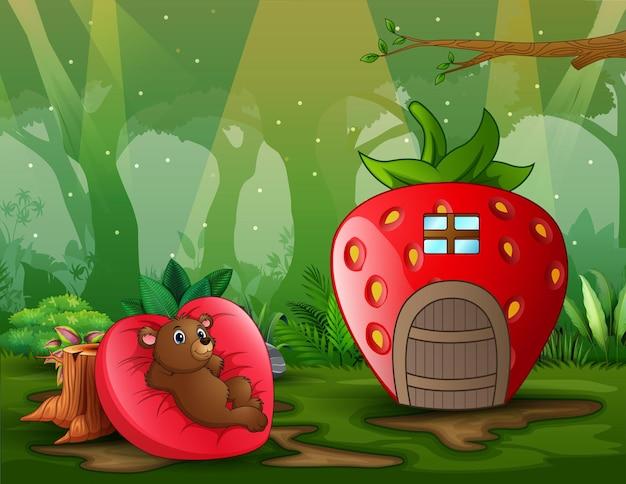 Fantasie huisscène met een beer op een hartvormig bed