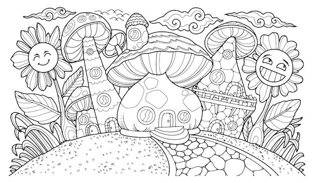 Fantasie illustratie voor kleurplaat volwassene