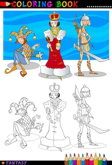 Fantasie karakters om in te kleuren