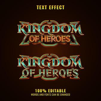 Fantasie koninkrijk van helden rpg middeleeuws spel logo titel teksteffect met frame