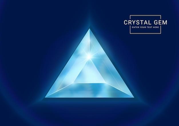 Fantasie kristallen sieraden edelsteen in driehoek polygoon vorm steen
