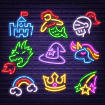 Fantasie neon pictogrammen