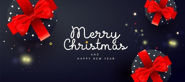Fantasie prettige kerstdagen en gelukkig nieuwjaar noel banner met decor geschenkdoos, op donkere achtergrond