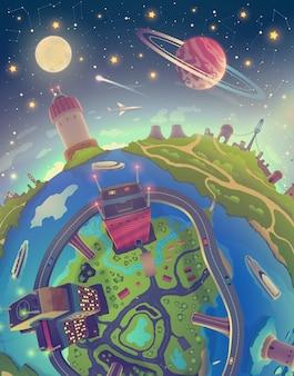 Fantasie ruimtelandschap met aarde over nachtelijke hemel met sterren, maan en planeten