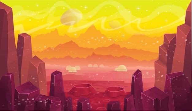 Fantasie ruimtestation op mars, cartoon landschap.