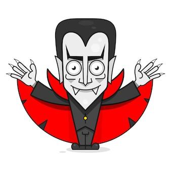 Fantasie stripfiguur vampier. grappige vectorillustratie. cute cartoon eng grappig karakter. fijne halloween.