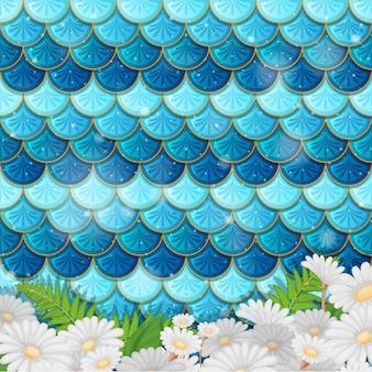 Fantasie zeemeermin schaalpatroon met veel bloemen
