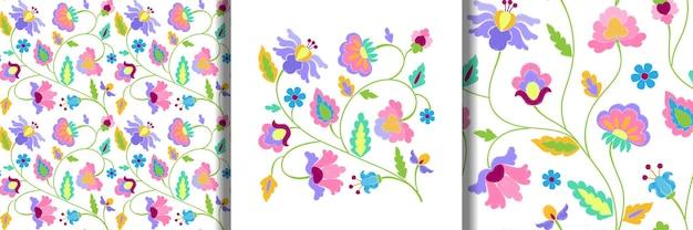 Fantasiebloemen borduurprint en naadloze patronen
