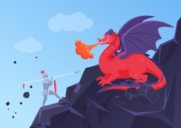Fantasiegevecht van ridder en draken heldhaftige krijger in harnas vechtend met speer