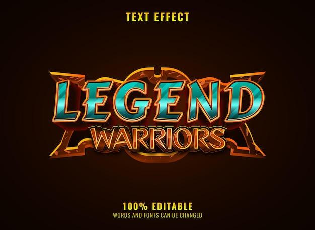 Fantasielegende krijgers rpg middeleeuws spel logo titel teksteffect met frame