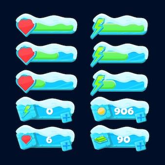 Fantasiesneeuw bevriest gezondheid, energie en herlaadbalk voor game-ui-elementen