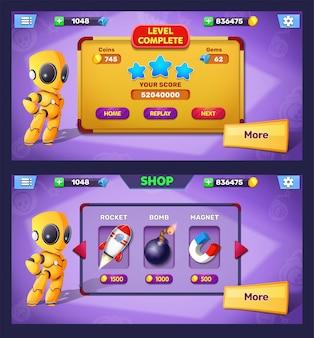 Fantasiespelniveau voltooid en pop-upscherm met winkelmenu