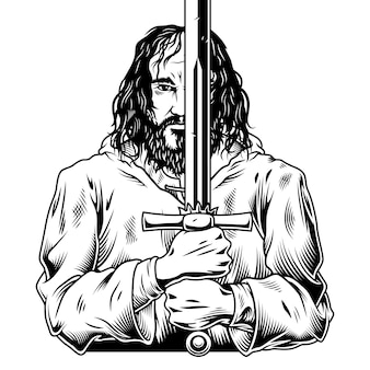 Fantasiestrijder met zwaard